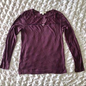 NWT LOFT Purple Crochet-Lace Long Sleeve Top